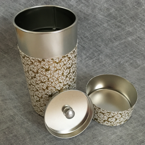 Tea Caddy Stainless Japanese Paper Maple Gold Open