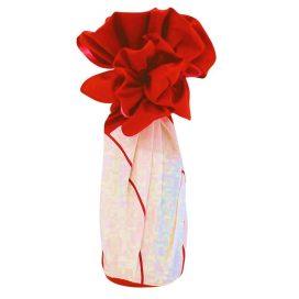 Furoshiki Plum Red Bottle Wrapping Example